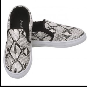Shoes - Qupid snake skin slip on shoes